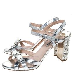 Miu Miu Silver Leather Crystal Embellished Block Heel Ankle Strap Sandals Size 38