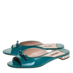 Miu Miu Blue Patent Leather Crystal Embellished Heel Bow Flat Slides Size 39