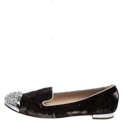 Miu Miu Brown Velvet Embellished Smoking Slippers Size 38.5
