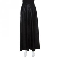 49e33fa88 MM6 Maison Margiela Black Faux Leather A Line Maxi Skirt M