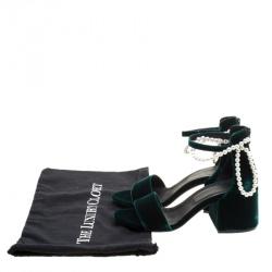MM6 Maison Margiela Dark Green Velvet Faux Pearl Embellished Ankle Strap Sandals Size 38.5