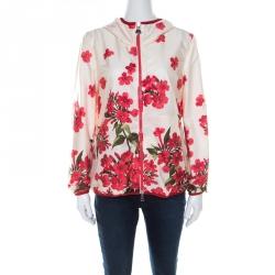Moncler Cream Floral Printed Hooded Windbreaker Jacket M