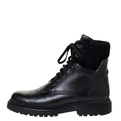 Moncler Black Leather And Wool Combat Boots Size 40