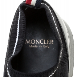 Moncler Black Leather And Knit Fabric Giroflee Paneled Slip On Sneakers Size 38