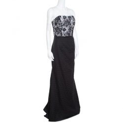 Monique Lhuillier Monochrome Floral Lace Bodice Detail Flared Strapless Gown L
