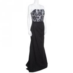 426c43abc3d6 ML by Monique Lhuillier Monochrome Floral Lace Bodice Detail Flared  Strapless Gown M