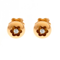 dff00f234 Montblanc Logo Diamond 18k Rose Gold Round Stud Earrings