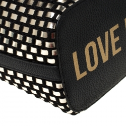 Love Moschino Black and Silver Faux Leather Applique Tote