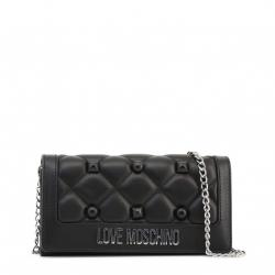 Love Moschino Black Quilted Faux Leather Studded WOC Clutch Bag