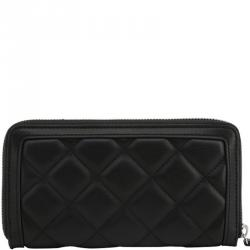 Love Moschino Black Quilted Faux Leather Studded Zip Around Wallet