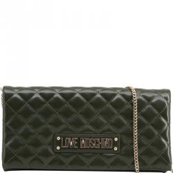 Love Moschino Dark Green Quilted Faux Leather Clutch Bag