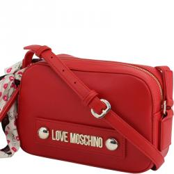 Love Moschino Red Faux Leather Scarf Crossbody Bag