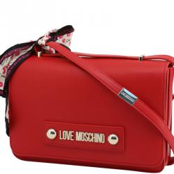 Love Moschino Red Faux Leather Scarf Flap Shoulder Bag