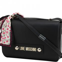 Love Moschino Black Faux Leather Scarf Flap Shoulder Bag