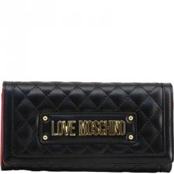 Love Moschino Black Quilted Faux Leather WOC Clutch Bag