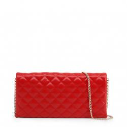 Love Moschino Red Quilted Faux Leather Clutch Bag
