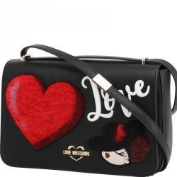 Love Moschino Black Faux Leather Applique Shoulder Flap Bag