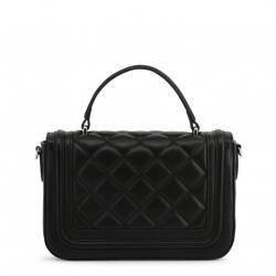 Love Moschino Black Quilted Faux Leather Studded Top Handle Bag