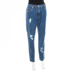 54491c3db54344 Moschino Couture Indigo Distressed Denim High Rise Tapered Jeans M