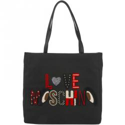 Love Moschino Black Canvas Logo Embroidered Shopping Tote