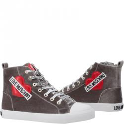 Love Moschino Grey Corduroy High Top Sneakers Size 36