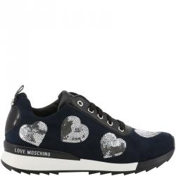 d7be931b92 Love Moschino Tricolor Faux Leather and Fabric Lace Up Sneakers Size 35