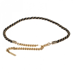 Moschino Black/Gold Leather and Chain Belt 105CM