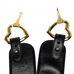 Moschino Black Leather Heart Buckle Belt 70CM