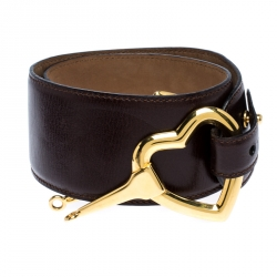 Moschino Dark Brown Leather Heart Buckle Belt 80CM