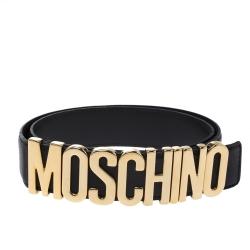 Moschino Black Leather Classic Logo Belt 85CM
