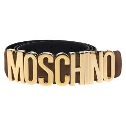 Moschino Brown Suede Logo Belt 95CM