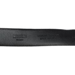 Moschino Black Leather Logo Belt 90CM
