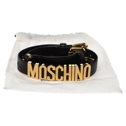 Moschino Black Leather Logo Waist Belt 40