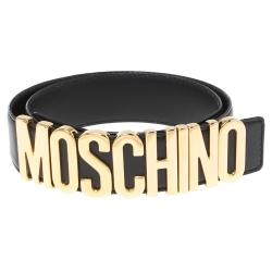 Moschino Black Leather Classic Logo Belt 80 CM