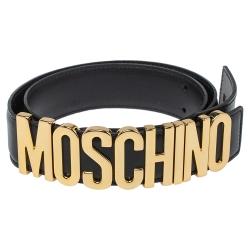 Moschino Black Leather Classic Logo Belt 75CM