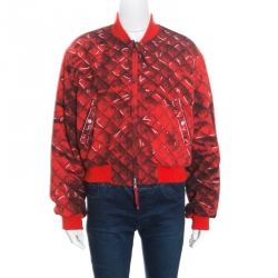 72173649578a15 Moschino Couture Red Trompe-L'oeil Printed Bomber Jacket L