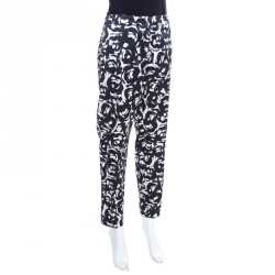 ed4a94505b Moschino Monochrome Rose Printed Satin Tailored Trousers M