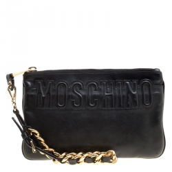 a90aeb453c4 Moschino Black Leather Logo Embossed Wristlet Pouch