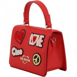 Love Moschino Red Faux Leather Embellished Top Handle Bag