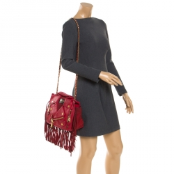 Moschino Red Leather and Suede Fringed Moto Jacket Bag