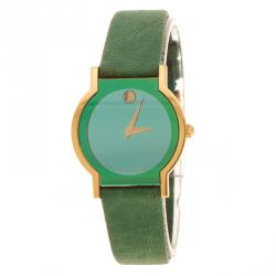 Movado Green Gold Plated Stainless Steel Museum Women's Wristwatch 24 mm