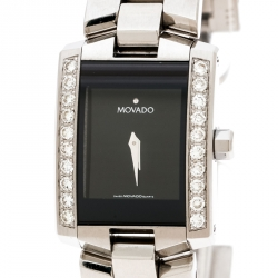 Movado Black Stainless Steel Diamonds Eliro 84 C1 415 AS Women's Wristwatch 22 mm