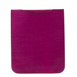 Mulberry Purple Croc Embossed Leather iPad Sleeve Case