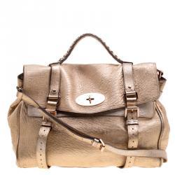 0f4ecf3d2fe1 Mulberry Gold Leather Oversized Alexa Satchel