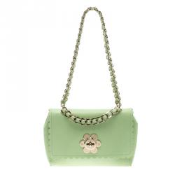 Mulberry Mint Green Leather Cecily Flower Shoulder Bag 55c5db1385b22