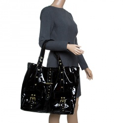 Mulberry Black Patent Leather Roxanne Tote