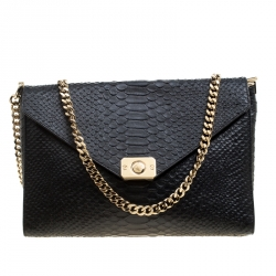 Mulberry Black Burgundy Snakeskin Embossed Leather Delphie Duo Flap Shoulder  Bag 215b86d30e79a