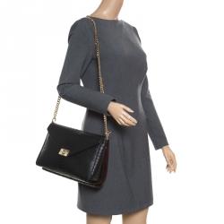 86af718c6289 Mulberry Black Burgundy Snakeskin Embossed Leather Delphie Duo Flap  Shoulder Bag