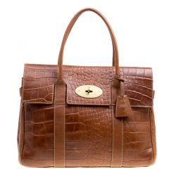 90320abe7c Mulberry Brown Croc Embossed Leather Bayswater Satchel