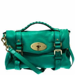 62077c7658 Mulberry Green Leather Alexa Top Handle Bag